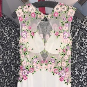Jovani white/floral gown w/ open back size 2 NWT